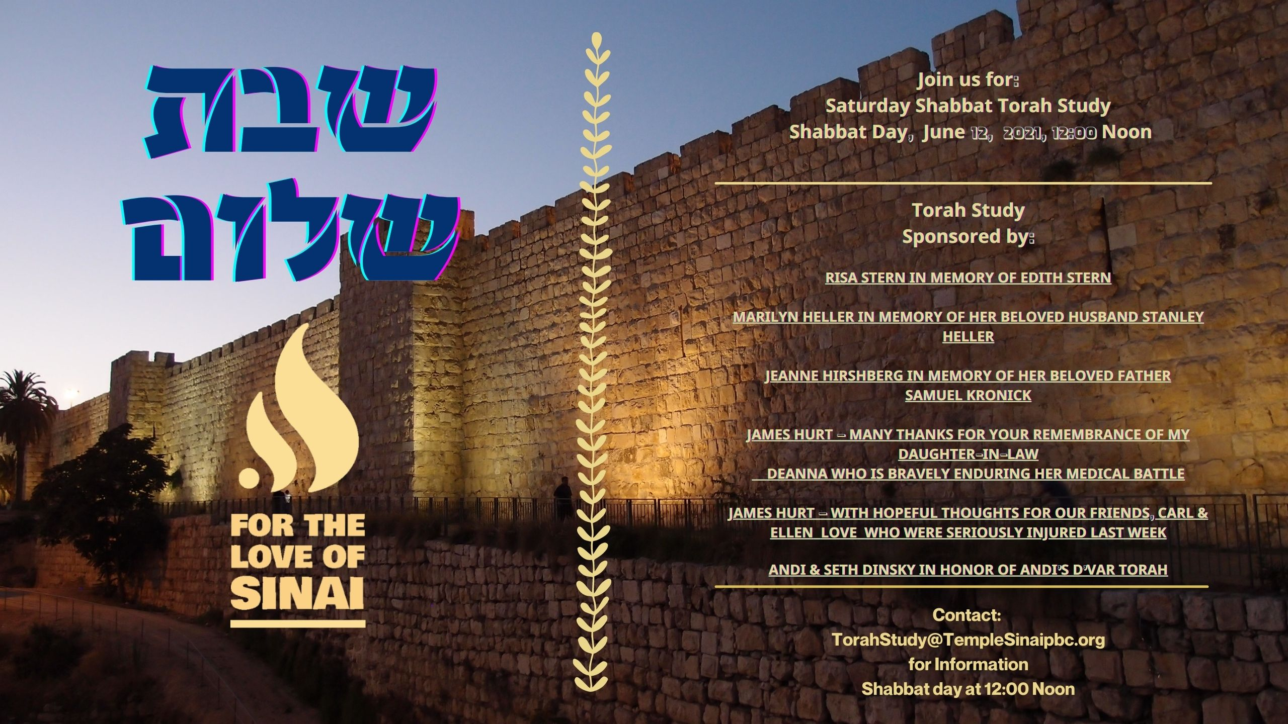 TorahStudy@TempleSinaiPBC.org   TORAH PORTION Korach Numbers 16:1−18:32| 2 Tammuz 5781 Haftarah: I Samuel 11:14-12:22 Numbers 16:1-2